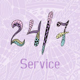 Hand drawn doodle service around the clock Royalty Free Stock Photo