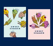 Hand drawn doodle set of assorted ice cream. Types. Waffle cone, cup ice cream, popsicle, sundae. Sketch style vector illustration for cafe menu, card, birthday Royalty Free Stock Images