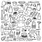 Hand drawn doodle set with bakery elements Stock Photo