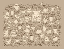 Hand drawn doodle set coffee. Vector illustration Royalty Free Stock Image