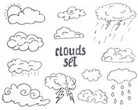 Hand drawn Doodle set of different Clouds, sketch Collection  vector illustration isolated on white Royalty Free Stock Images