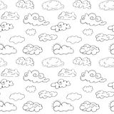 Hand drawn Doodle set of different Clouds, sketch Collection  vector illustration isolated on white Stock Photo