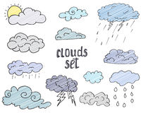 Hand drawn Doodle set of different Clouds, sketch Collection  vector illustration  on white Stock Photo