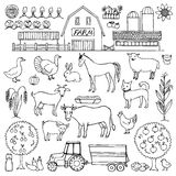 Hand drawn doodle set with farm Royalty Free Stock Image