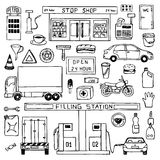 Hand drawn doodle set with filling station Royalty Free Stock Photography