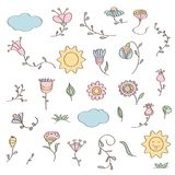 Hand drawn doodle set of flowers Royalty Free Stock Photo