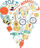 Hand drawn doodle set of hobbies and sport things. drawn in the shape of a heart. vector illustration