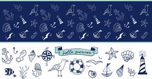 Hand drawn doodle. Set of nautical illustration of ocean life, seafood, underwater world. Ribbon banner `Hello summer` Seamless navy blue pattern with white Stock Images