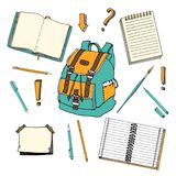 Hand drawn doodle set of school teen elements. Back to school. Writing supplies,copybook, notebook, sticky notes, backpack in cart Royalty Free Stock Photo