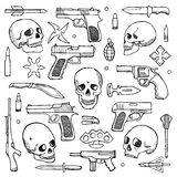 Hand drawn doodle set with skulls and guns Royalty Free Stock Photography