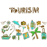Hand drawn doodle set with summer holiday icon. Tourism vector background. Banner or poster, travel template Stock Image
