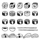 Hand drawn doodle set with sushi Stock Photography