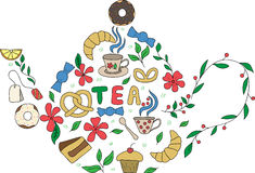 Hand drawn doodle set of sweets. drawn in the shape of a teapot. No background vector illustration
