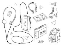 Hand drawn doodle set of teen elements isolated on white background. Retro audio player, cassette, headphones, roller skates, back Royalty Free Stock Images