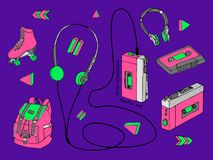 Hand drawn doodle set of teen isolated elements in 90s style. Retro audio player, cassette, headphones, roller skates, backpack in Stock Images
