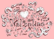 Hand drawn doodle set of valentine day Royalty Free Stock Photo