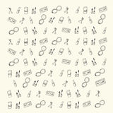 Hand drawn doodle sketch Beauty & Cosmetics icons Royalty Free Stock Photo