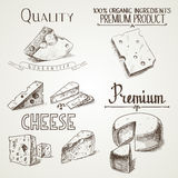 Hand drawn doodle sketch cheese with different Royalty Free Stock Photos