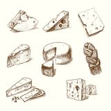 Hand drawn doodle sketch cheese with different Stock Photography