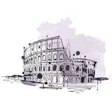 Hand drawn doodle sketch of the Colosseum, Rome Royalty Free Stock Photography