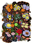 Hand drawn Doodle Sketch Flowers  background Stock Photos