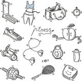 Hand drawn doodle sketch icons set fitness and Royalty Free Stock Image