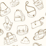 Hand drawn doodle sketch illustration seamless pattern bags - baggage for travel, suitcase, case, handbag, Royalty Free Stock Photo