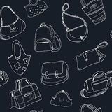 Hand drawn doodle sketch illustration seamless pattern bags - baggage for travel, suitcase, case, handbag, Stock Photos