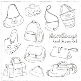 Hand drawn doodle sketch illustration set of bags - baggage for travel, suitcase, case, handbag, Royalty Free Stock Images