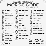 Hand-drawn doodle sketch. International Morse code. Isolated on white background Royalty Free Stock Image