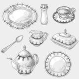 Hand drawn doodle sketch kitchen porcelain Stock Photos