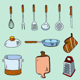 Hand drawn doodle sketch kitchen utensils for Stock Image