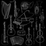 Hand drawn doodle, sketch musical instruments. Vector icons set Royalty Free Stock Photo