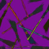 Brooms pattern. Hand drawn doodle, sketch in pop art style, seamless pattern design on purple background Stock Image