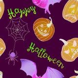 Happy Halloween: pumpkins, bat and spider web Royalty Free Stock Photos