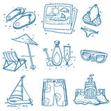 Hand drawn doodle sketch travel icons summer Stock Image