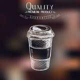 Hand drawn doodle sketch vintage paper cup of Stock Image