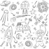 Hand Drawn Doodle Spaceman, Spaceships, Rockets, Falling Stars, Planets and Comets. Sketch Style. Stock Photo