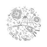 Hand Drawn Doodle Spaceships, Rockets, Falling Stars, Planets and Comets Arranged in a Circle. Sketch Style. Royalty Free Stock Photos