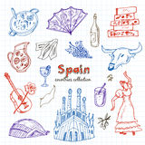 Hand drawn doodle Spain symbols set. Royalty Free Stock Images