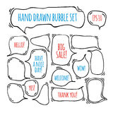 Hand drawn doodle speech bubbles set with accentuation Royalty Free Stock Photo