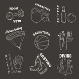 Hand drawn doodle sport games banners Royalty Free Stock Image
