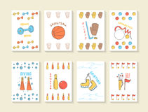Hand drawn doodle sport games cards royalty free illustration