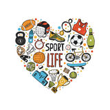 Hand drawn doodle sports symbols in heart Stock Photo