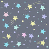 Hand drawn doodle stars pattern background. Simple graphic soft pastel color elements on dark grey cover for use in design for card, poster, brochures vector illustration