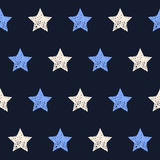 Hand drawn doodle stars seamless pattern background Stock Photos