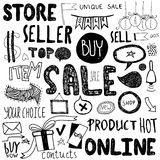 Hand drawn doodle store sale icons Royalty Free Stock Image