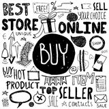 Hand drawn doodle store sale icons Royalty Free Stock Photos