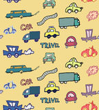 Hand-drawn doodle-style cars seamless pattern Stock Images
