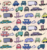 Hand-drawn doodle-style cars seamless pattern Royalty Free Stock Photo